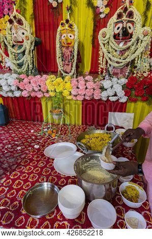 Vog, Prasad, Or Sacred Worshipped Food, Being Distributed To Devotees, After Worshipping Idol Of God