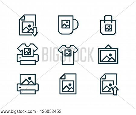 Print On Demand Icons Collection. Vector Illustration