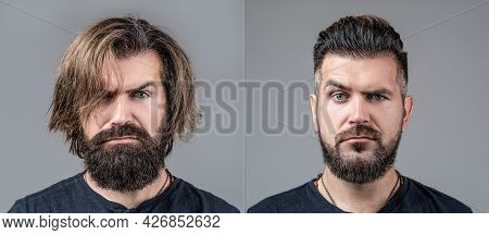 Collage Man Before And After Visiting Barbershop, Different Haircut, Mustache, Beard. Male Beauty, C