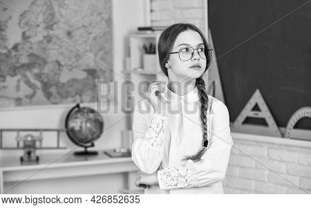 Education And Kids Literature. Romantic Schoolgirl In Classroom. Adorable School Nerd. Introducing N