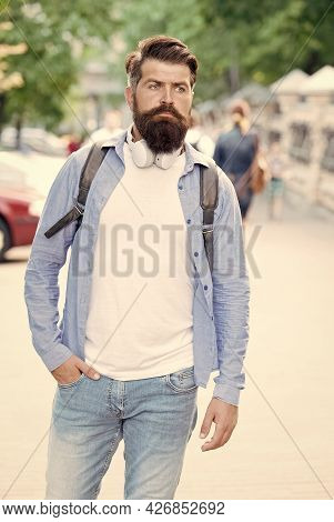 Its Casual Enough. Hipster In Casual Style Urban Outdoors. Bearded Man Wear Casual Clothing. Casual