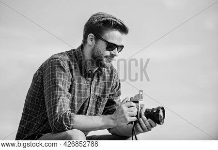 Stop The Moment. Capture Adventure. Journalist. Macho Man With Camera. Photographer In Glasses. Trav