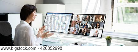Virtual Diary Conference Webinar On Desktop Monitor. Conference Agenda