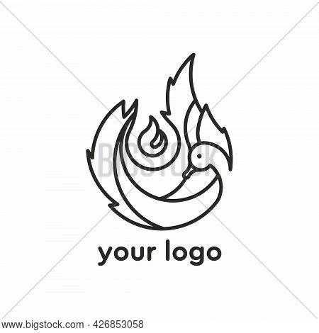 Vector Logo With A Burning Candle. Candle Shop Logo. Candle Logo. Swan On Fire. Candle Logo.