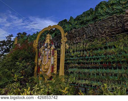 Beautiful Lord Sri Venkateshwara Idol Mural Work Tourist Attraction, Tirupati, Andhra Pradesh, India