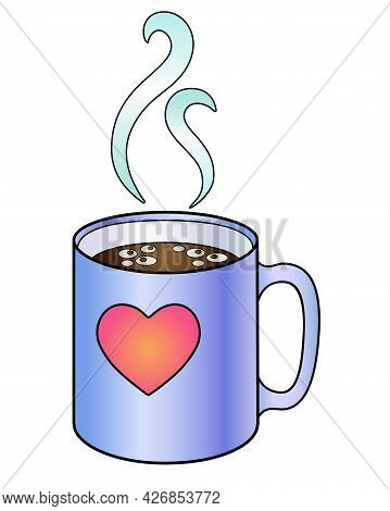 Blue Cup With A Pink Heart. Cup With A Hot Drink - Coffee Or Tea And Rising Trickles Of Steam - Vect