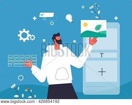 Designer Creating Mobile Application Illustration Concept Vector