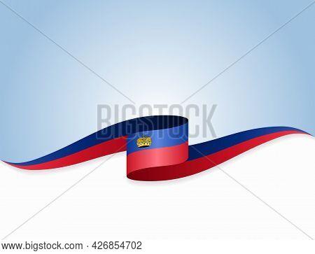 Liechtenstein Flag Wavy Abstract Background. Vector Illustration.