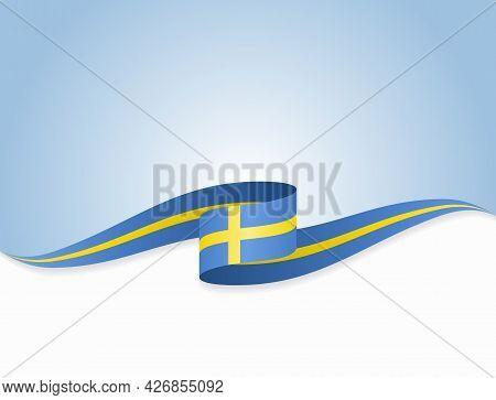 Swedish Flag Wavy Abstract Background. Vector Illustration.