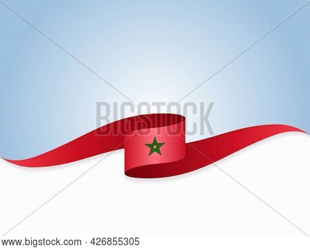 Moroccan Flag Wavy Abstract Background. Vector Illustration.