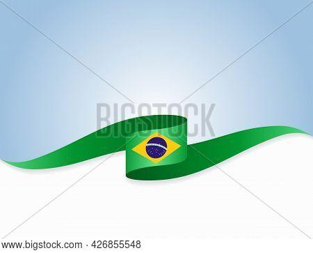 Brazilian Flag Wavy Abstract Background. Vector Illustration.