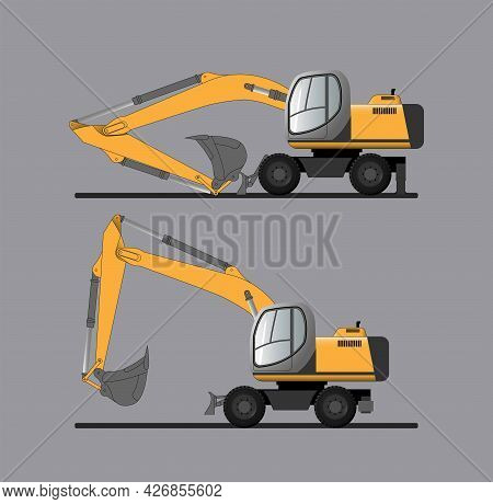 A Set Of Vector Images Of A Bucket Excavator In A Position For Transport And Movement On Its Own. Co