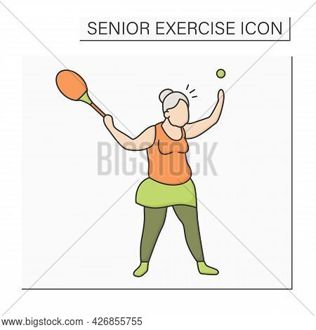 Tennis Color Icon. Racket Sport. Woman Keeps Rocket And Ball. Physical Activity. Cardio Workout. Spo