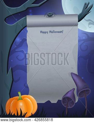 Halloween Background With Empty Sheet Of Paper On The Tree Branch And Creepy Mushrooms