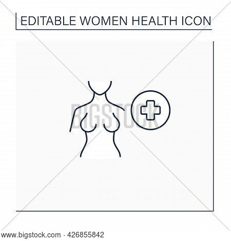 Breast Health Line Icon. Mammograms And Breast Ultrasounds.selfcare.required Female Examination. Wom