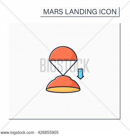 Descend Rover Color Icon. Descending Rover To Surface. Research Uninhabited Land. Mars Landing Conce