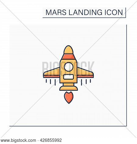 Spaceship Color Icon. Spacecraft Controlled By Crew. Ready For Flight. Cosmos Research. Mars Landing