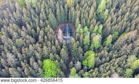 Aerial View Of Wooden Rural Chapel Called Tichackova Kaple In Broumovsko Region,czech Republic.catho