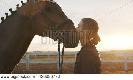 Female Horse Owner Standing With Her Dark Bay Horse. Expressing Her Affection For The Stallion. Love