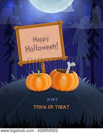 Halloween Background With Empty Wooden Desk And Big Pumpkins