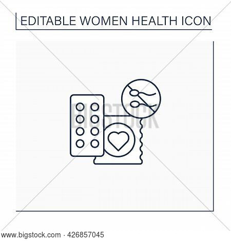 Drug Line Icon. Contraception. Pills And Condoms.unwanted Pregnancy. Health Care. Woman Health Conce