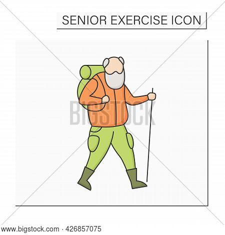 Hiking Color Icon. Vigorous Walk.keeps Muscles In Tonus. Physical Activity. Safety Workout For Older