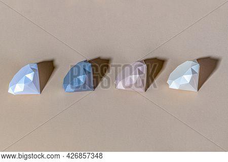 3D geometric diamond shape set on a beige background
