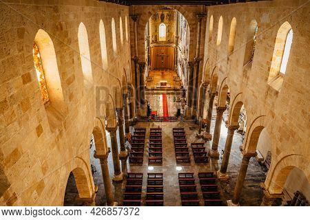 Cefalu,sicily - June 6,2021.roman Catholic Cathedral,duomo, At Sunrise.famous Unesco Heritage Site I