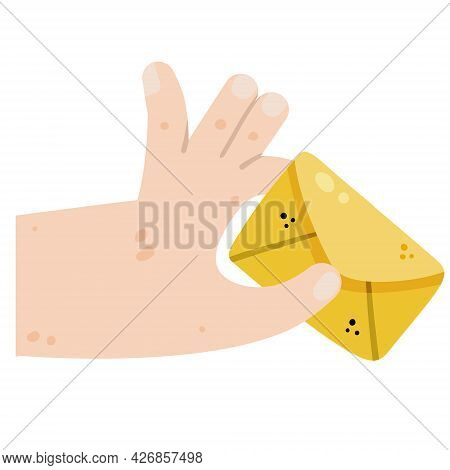Hand Holding And Giving Letter. Yellow Postal Envelope. Messaging And Correspondence. Mail Concept.