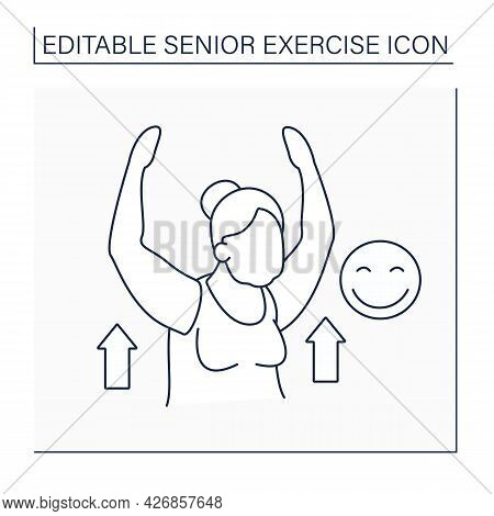 Workout Line Icon. Sport Life. Cardio. Physical Activity Provides A Good Mood.senior Exercise Concep