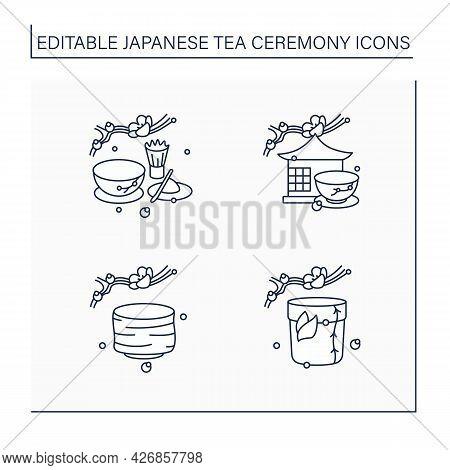 Japanese Tea Ceremony Line Icons Set. Tea Caddy, Bowl, Room, Matcha. Japan Ancient Tradition. Tea Ce