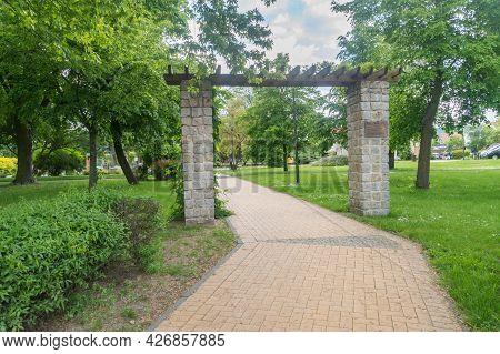 Lubin, Poland - June 1, 2021: Entrance To Jan Wyzykowski Square.