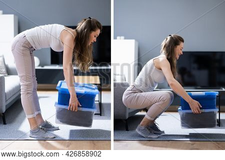 Incorrect Box Lifting Posture. Heavy Weight Lift