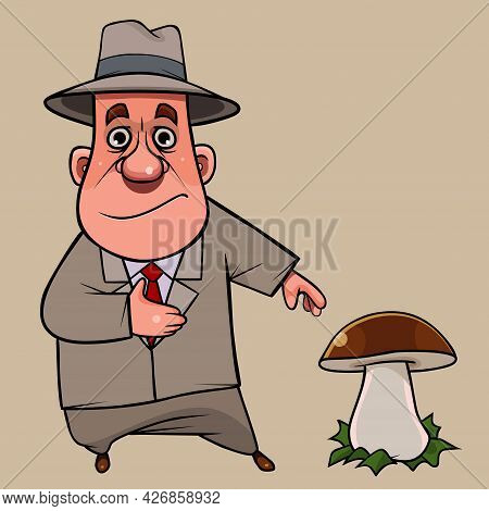 Cartoon Man In Suit And Hat Stands Next To Large Porcini Mushroom