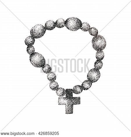 Vector Sketch .religious And Praying Symbols.hand Drawn Vintage Drawing .