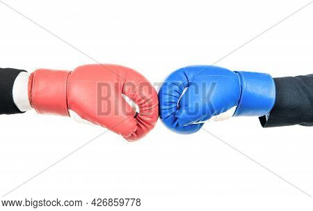 Challenge To Fight. Red Boxing Glove Against Blue Glove. Business Competition