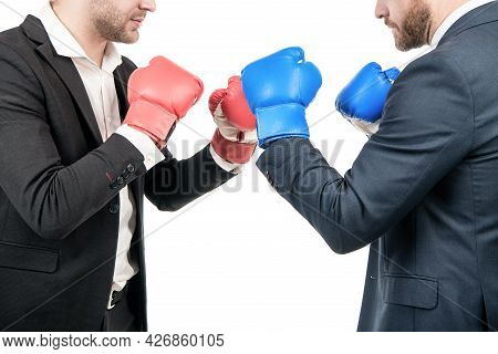 Professional Men Cropped View In Business Suits Stand In Fighting Position Isolated On White, Boxing