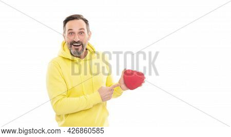 This Is For You. Happy Handsome Mature Man With Beard And Moustache In Hoody Hold Heart Shape Box