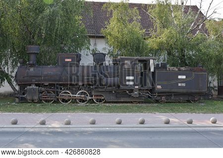 Old Steam Locomotive On Old Rails. Remembering The Old Days
