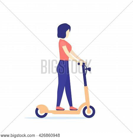 Woman On A Kick Scooter, Vector Art