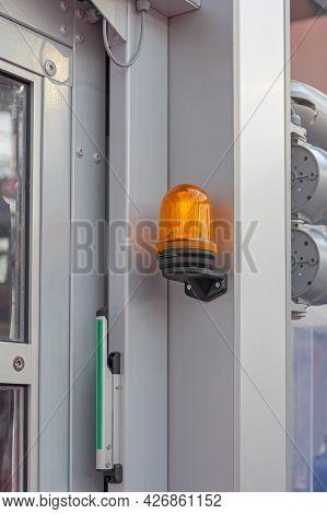Amber Light Warning At Automated Parking Garage Door