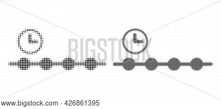 Pixel Halftone Timeline Icon. Vector Halftone Concept Of Timeline Icon Designed Of Circle Points.