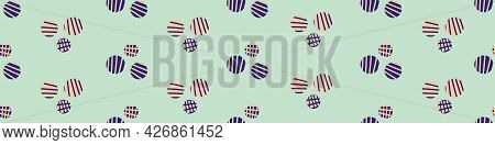 Ditsy Vector Polka Dot Border With Scattered Hand Drawn Groups Of Small Striped Circles In Orange, B