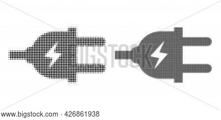 Dotted Halftone Electric Plug Icon. Vector Halftone Composition Of Electric Plug Icon Done Of Spheri