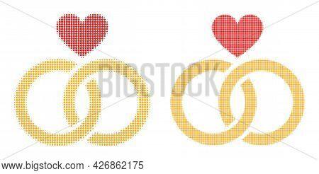 Dot Halftone Romantic Rings Icon. Vector Halftone Collage Of Romantic Rings Icon Made Of Circle Dots