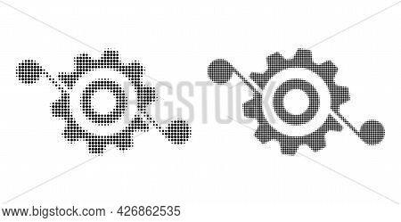 Pixel Halftone Gear Solution Icon. Vector Halftone Collage Of Gear Solution Icon Combined Of Circle