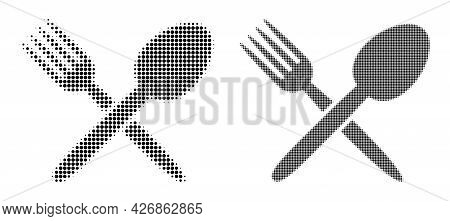 Dotted Halftone Spoon And Fork Icon. Vector Halftone Composition Of Spoon And Fork Icon Created Of C