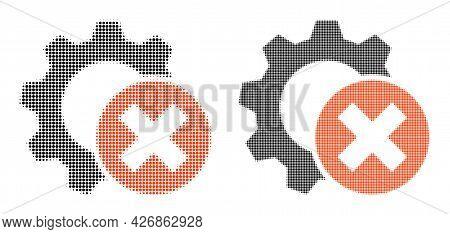 Pixel Halftone Delete Settings Gear Icon. Vector Halftone Mosaic Of Delete Settings Gear Icon Organi