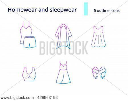 Cozy Garment Outline Icons Set. Comfortable Homewear And Sleepwear. Cardigan, Sports Bra. Purple Gra