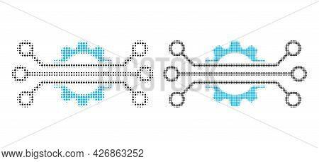 Pixel Halftone Digital Industry Icon. Vector Halftone Pattern Of Digital Industry Icon Created Of Ro